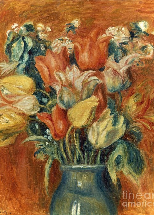 20th Century Greeting Card featuring the photograph Renoir: Bouquet Of Tulips by Granger
