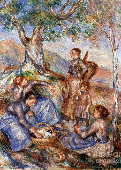 1880s Greeting Card featuring the photograph Renoir: Grape Pickers by Granger