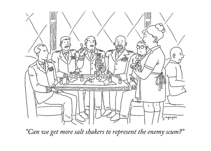 """""""can We Get More Salt Shakers To Represent The Enemy Scum?"""" Greeting Card featuring the drawing Representing Enemy Scum by Jeremy Nguyen"""