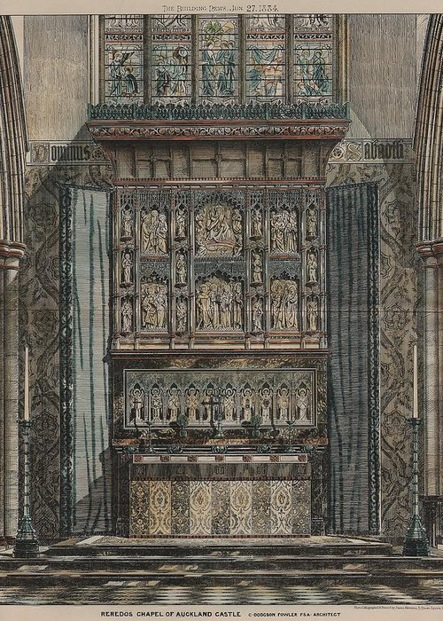 Aukland Greeting Card featuring the painting Reredos Chapel Of Aukland Castle 1884 by Dodgson Fowler