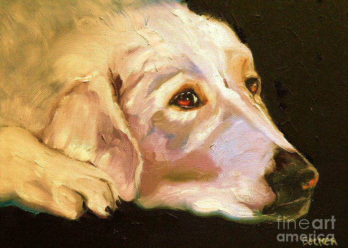 Oil Greeting Card featuring the painting Rescued Golden by Susan A Becker