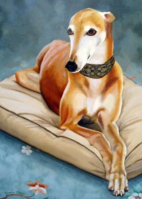 Greyhound Greeting Card featuring the painting Rescued Greyhound by Sandra Chase