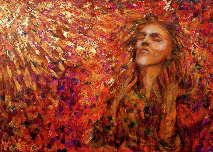 Sun Greeting Card featuring the painting Resonance by Nik Helbig