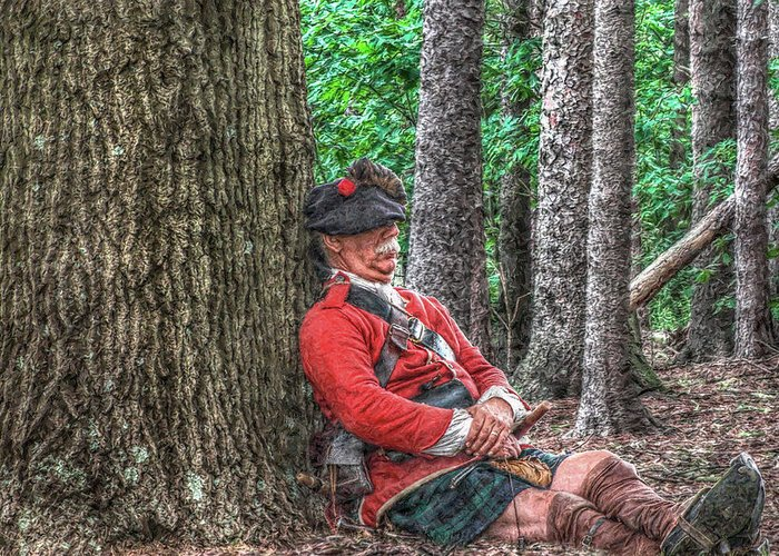 Royal Americans Greeting Card featuring the digital art Rest From The March Royal Highlander by Randy Steele