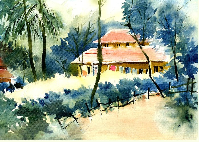 Landscape Greeting Card featuring the painting Rest House by Anil Nene