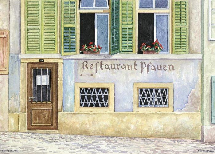 Restaurant Greeting Card featuring the painting Restaurant Pfauen by Scott Nelson