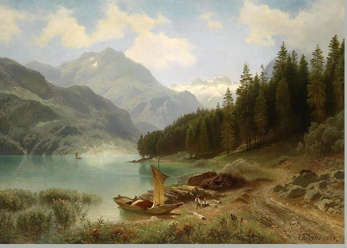 August Friedrich Kessler Greeting Card featuring the painting Resting By The Mountain Lake by August Friedrich Kessler