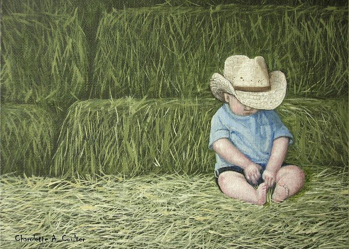 Western Greeting Card featuring the painting Resting by Charolette A Coulter