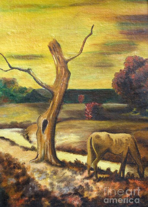 Landscape Greeting Card featuring the painting Resting by Cilinha