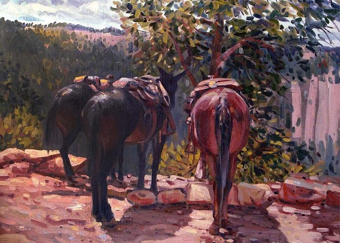 Mules Greeting Card featuring the painting Resting on the Kaibab Trail by Donald Maier