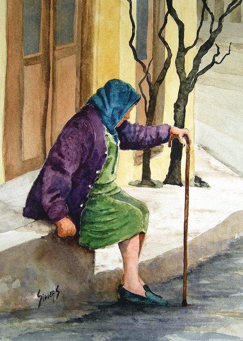 Old Lady Greeting Card featuring the painting Resting by Sam Sidders