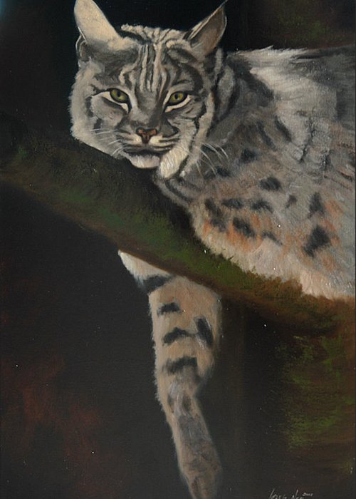 Bobcat Greeting Card featuring the painting Resting Up High by Greg Neal