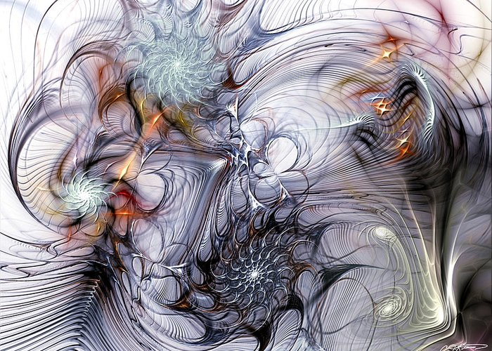 Fractal Greeting Card featuring the digital art Restive by Casey Kotas