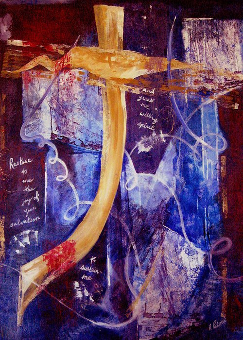 Abstract Greeting Card featuring the painting Restore To Me by Ruth Palmer