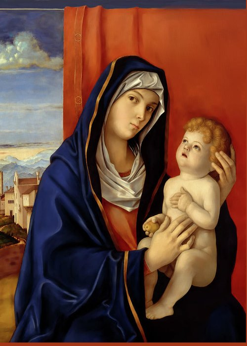 Restored Old Master Madonna And Child Giovanni Bellini Greeting Card featuring the digital art Restored Old Master Madonna And Child by Mark Higgins