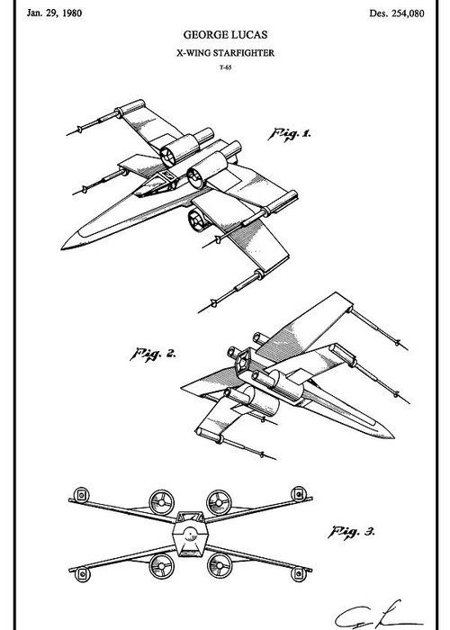 Restored Original Patent Drawing For The T 65 X Wing Starfighter Toy