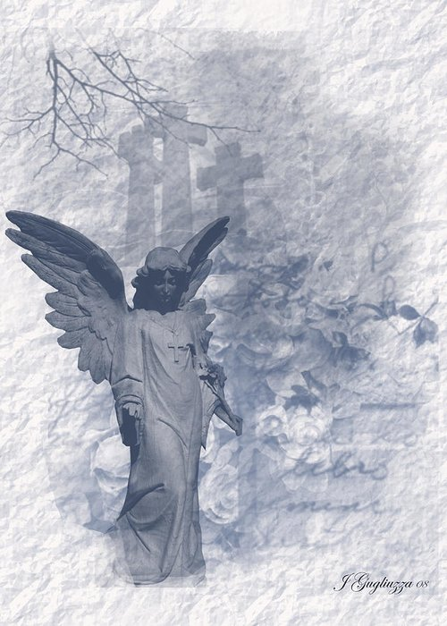 Angel Greeting Card featuring the digital art Resurrection Angel by Jean Gugliuzza