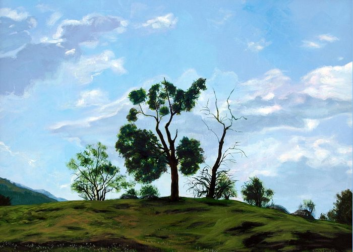 Landscape Greeting Card featuring the painting Resurrection Sunday by Jill Iversen