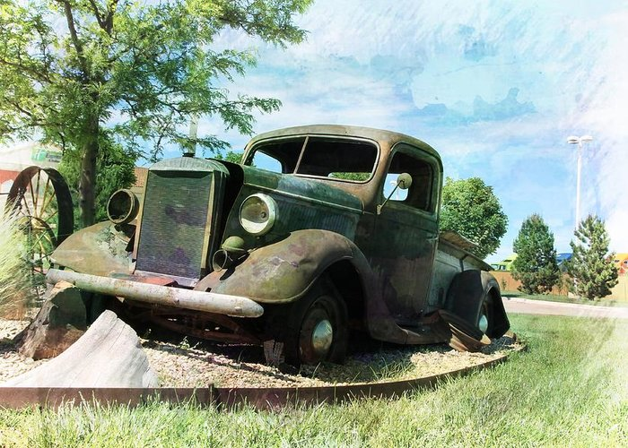 Vintage Greeting Card featuring the photograph Retired In Amarillo by Lisa Hurylovich