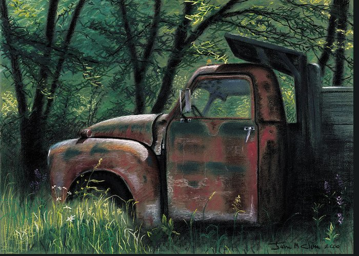 Retired Greeting Card featuring the pastel Retired by John Clum