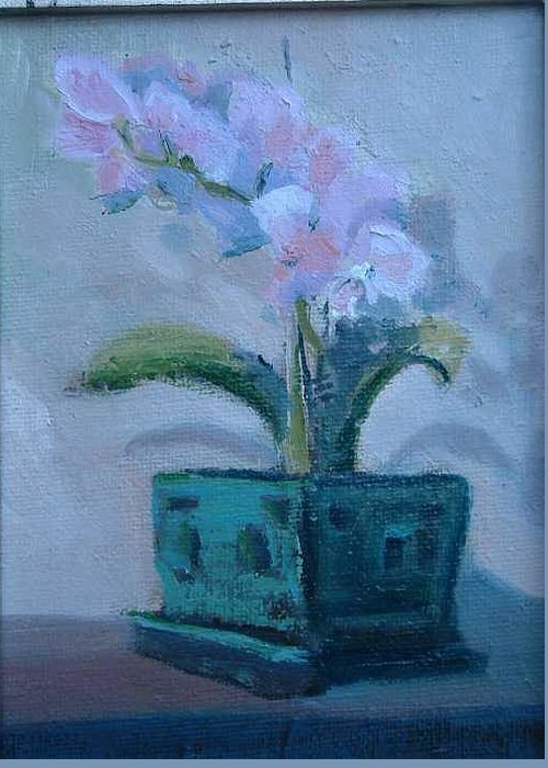 Sill Life Given As Gift For Kaiser Permanente Retirement..the Orchid Was Given To My Wife Shirl..  Greeting Card featuring the painting Retirement Orchid...SOLD by Bryan Alexander