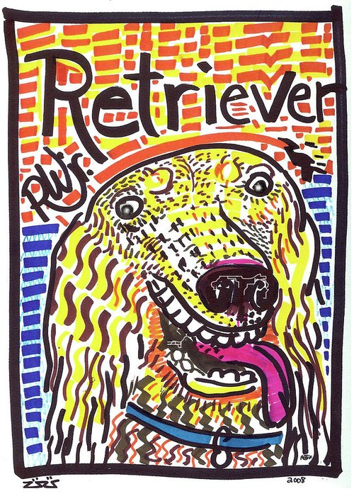 Rwjr Greeting Card featuring the painting Retriever by Robert Wolverton Jr