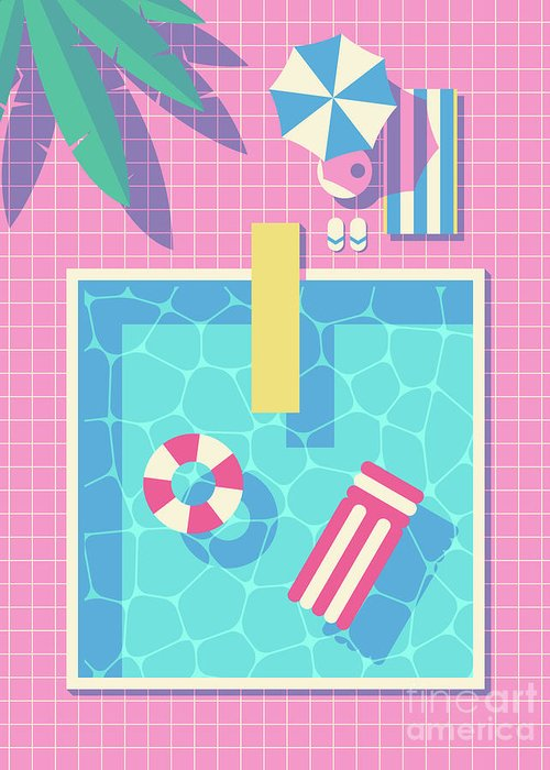 Swim Greeting Card featuring the digital art Retro 80s Swimming Pool by Organic Synthesis