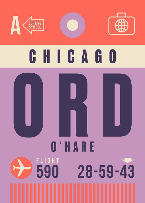 Retro Styled Luggage Tag Design For Chicago O'hare (ord) International Airport America. Greeting Card featuring the digital art Retro Airline Luggage Tag - Ord Chicago O'hare by Organic Synthesis