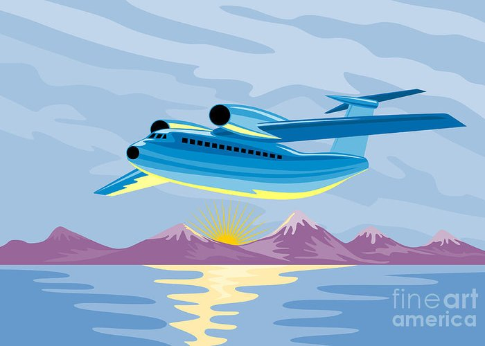 Airplane Greeting Card featuring the digital art Retro Airliner Flying by Aloysius Patrimonio