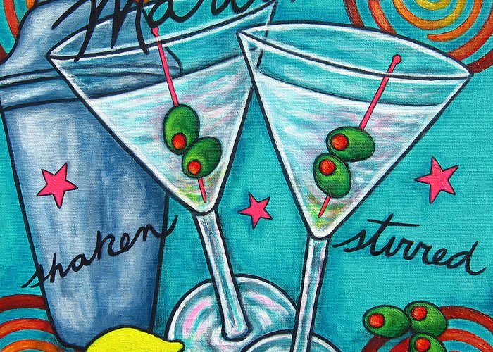 Alcohol Greeting Card featuring the painting Retro Martini by Lisa Lorenz