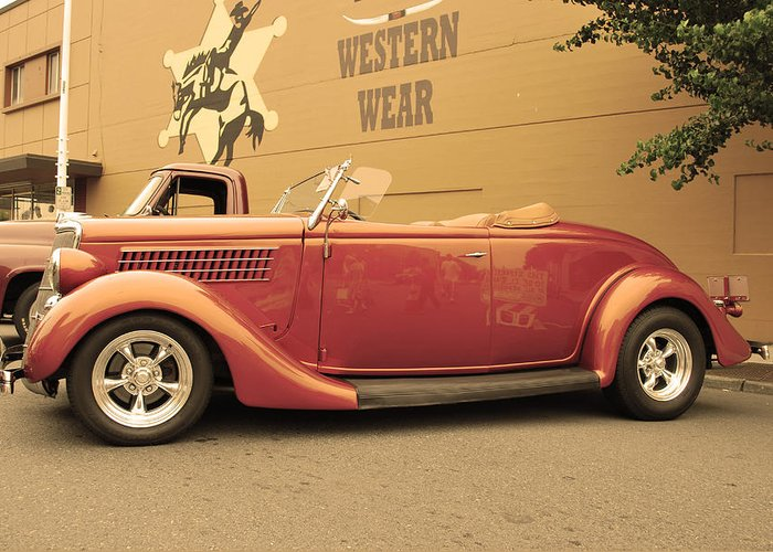 Car Greeting Card featuring the photograph Retro Red by Anastasia Michaels