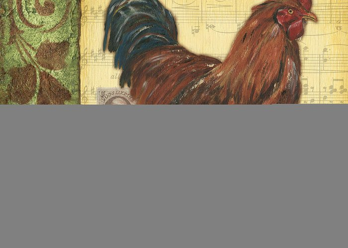 Rooster Greeting Card featuring the painting Retro Rooster 2 by Debbie DeWitt