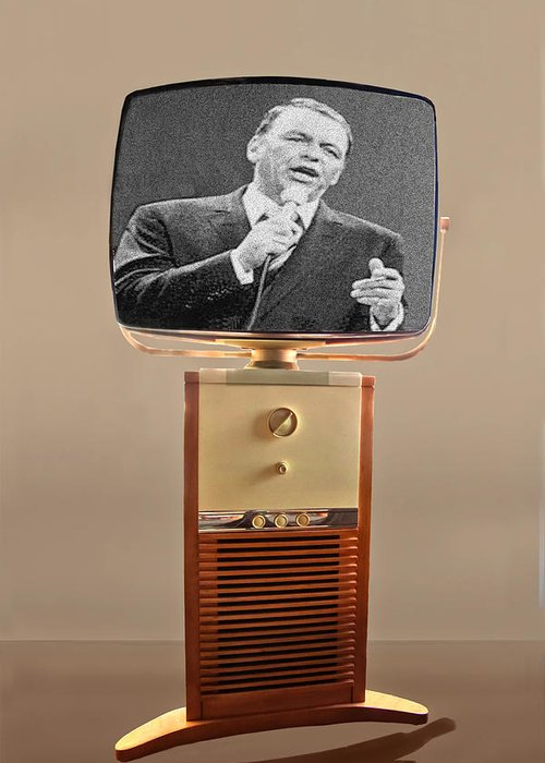Frank Sinatra Greeting Card featuring the photograph Retro Sinatra On Tv by Matthew Bamberg