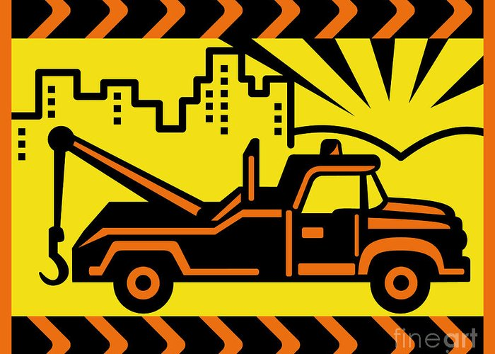Wrecker Truck Greeting Card featuring the digital art Retro Tow Truck by Aloysius Patrimonio