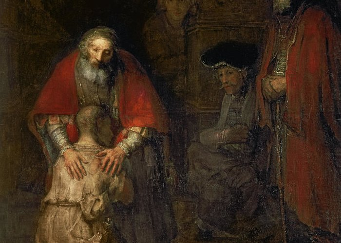 Return Greeting Card featuring the painting Return Of The Prodigal Son by Rembrandt Harmenszoon van Rijn