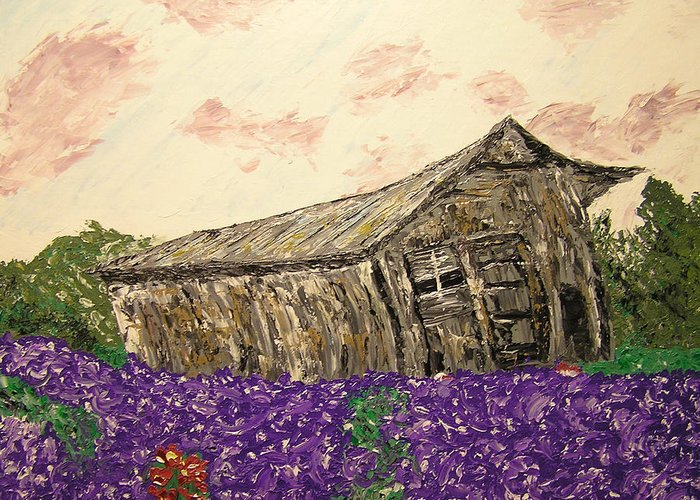Landscape Greeting Card featuring the painting Return To Serenity by Ricklene Wren