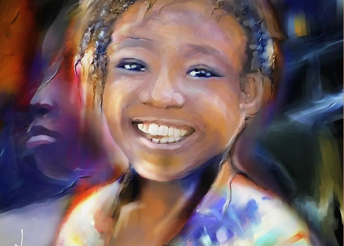 Portrait Greeting Card featuring the painting Returning A Smile by Bob Salo