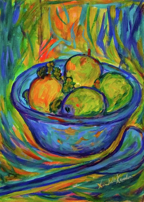 Bowl Paintings Greeting Card featuring the painting Returning The Bowl by Kendall Kessler