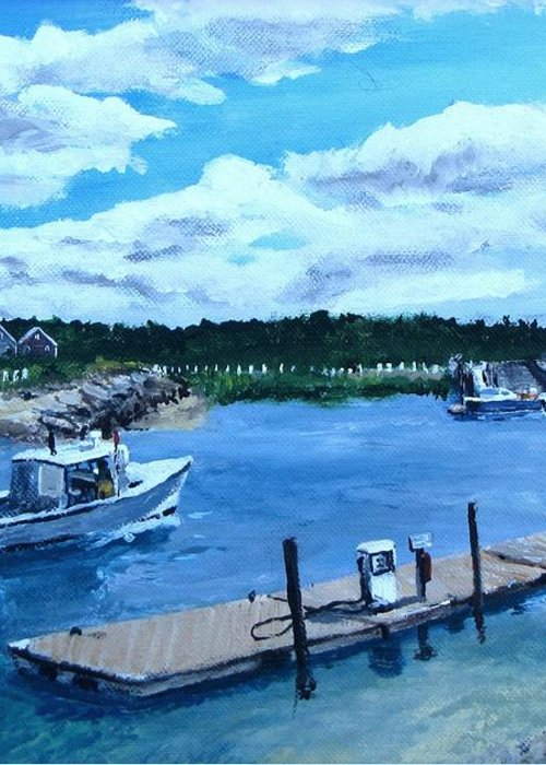 Seascape Greeting Card featuring the painting Returning To Sesuit Harbor by Jack Skinner