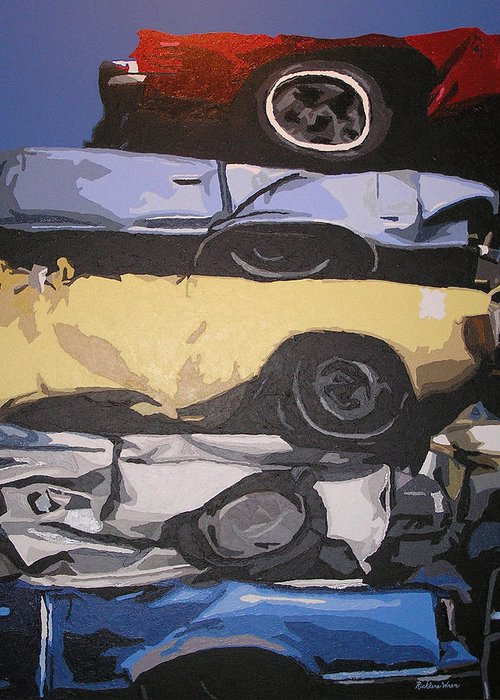 Cars Greeting Card featuring the painting Reunited by Ricklene Wren