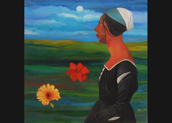 Figure Greeting Card featuring the painting Revealed Truths And Myths 7 by Joyce Owens