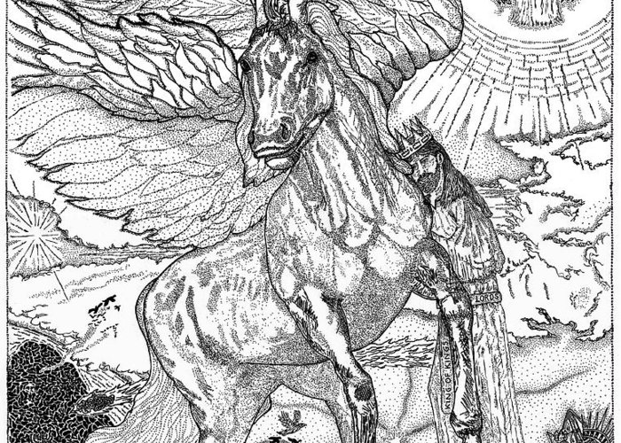 Horse Greeting Card featuring the drawing Revelation  Return Of The King by Glenn McCarthy Art and Photography