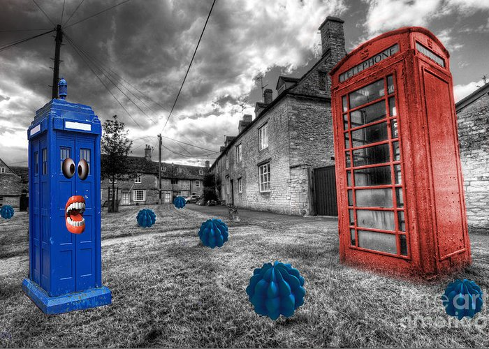 Telephone Greeting Card featuring the photograph Revenge Of The Killer Phone Box by Rob Hawkins