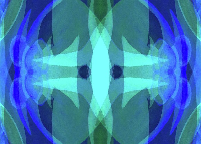 Blue Greeting Card featuring the digital art Reverberations by Peter Shor