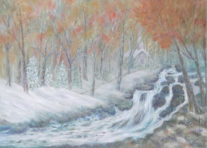 Snow; Landscape; Church Greeting Card featuring the painting Reverence by Ben Kiger