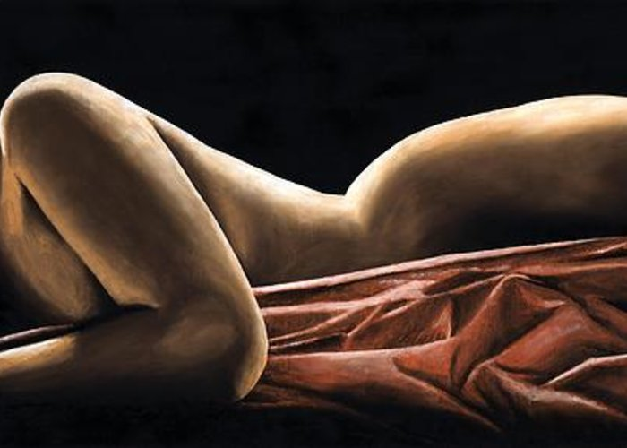 Nude Greeting Card featuring the painting Reverie by Richard Young