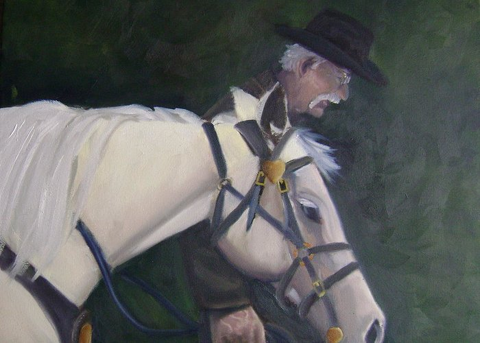 Old Man Horse... Greeting Card featuring the painting revised- Man's Best Friend by Toni Berry