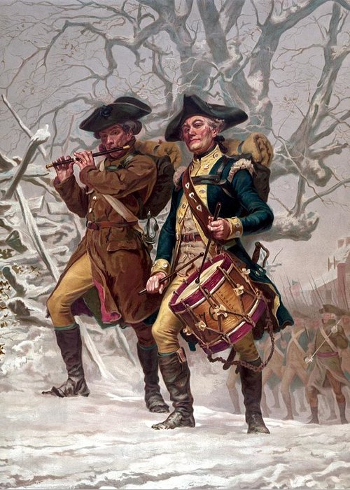 Minutemen Greeting Card featuring the painting Revolutionary War Soldiers Marching by War Is Hell Store