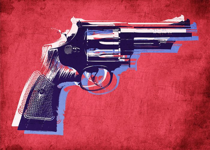 Revolver Greeting Card featuring the digital art Revolver On Red by Michael Tompsett