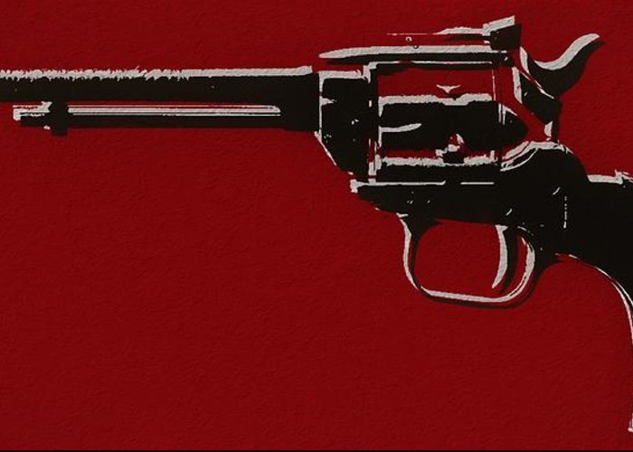 Revolver Pop Art Greeting Card featuring the mixed media Revolver Pop Art by Dan Sproul